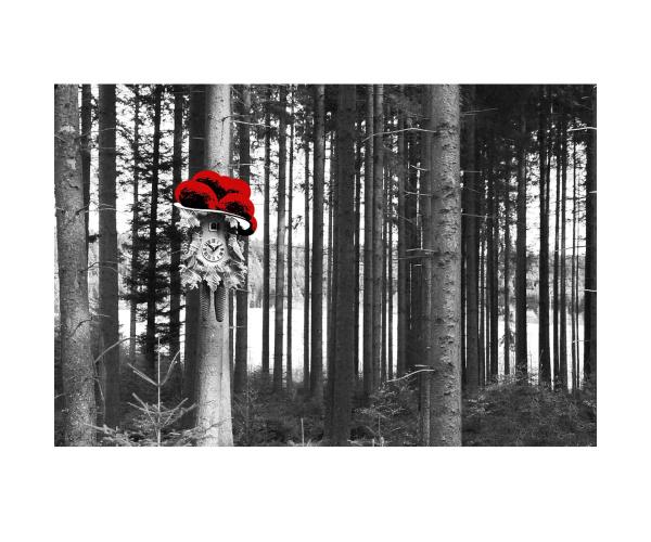 Bild Kuckucksuhr am Baum Bollen rot LP11B