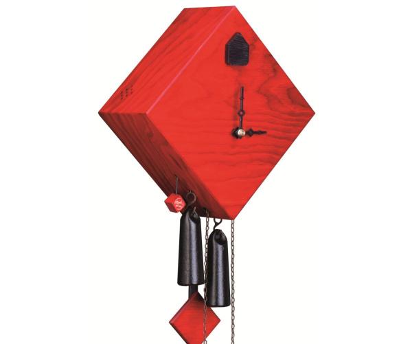 Moderne Kuckucksuhr Romba Raute rot lasiert
