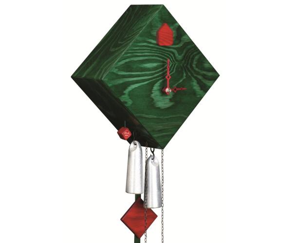 Moderne Kuckucksuhr Romba Raute grün lasiert