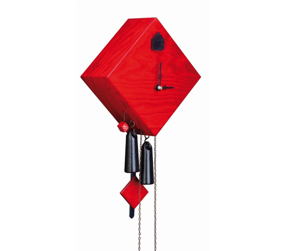Moderne Kuckucksuhr Romba Raute rot, 8-Tage-Werk