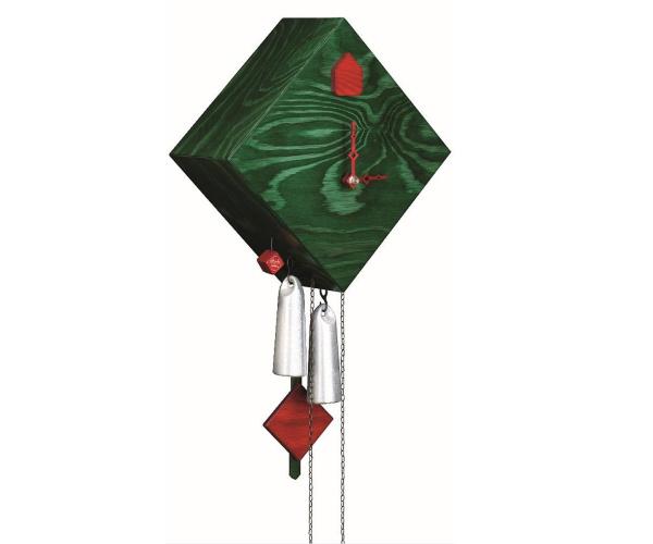 Moderne Kuckucksuhr Romba Raute grün, 8-Tage-Werk