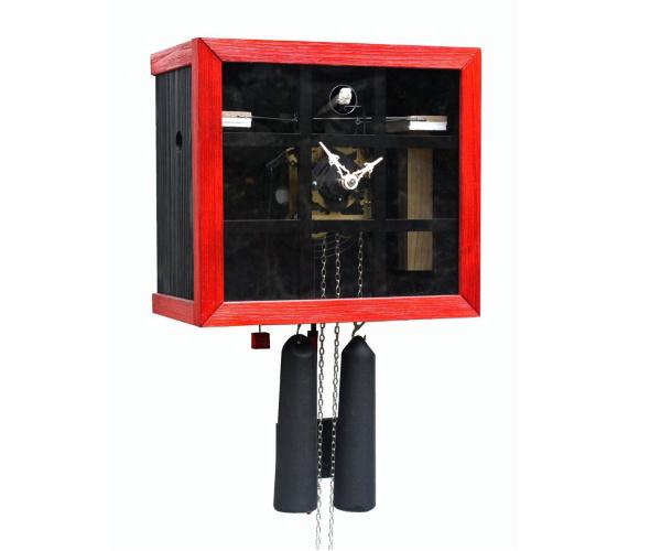 Kuckucksuhr Romba FV35-2-3 Kubus mit Fenster rot-schwarz