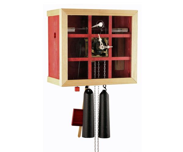 Modern cuckoo clock Romba FV35-3 cube with window, red