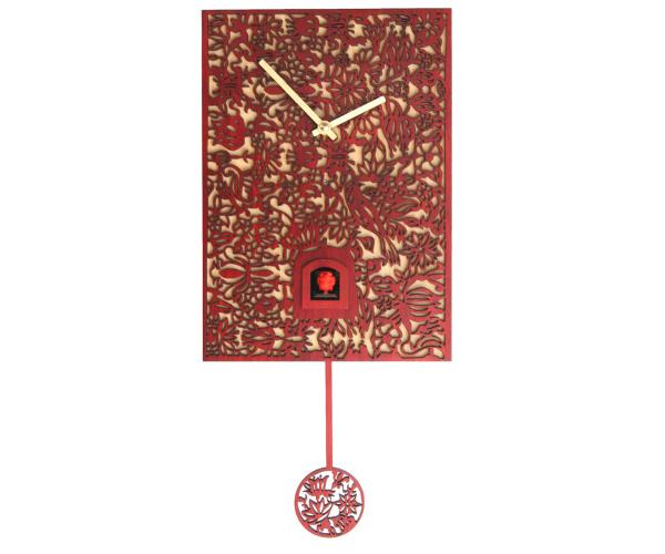 Moderne Kuckucksuhr mit Musik Romba SNQ-3, rot