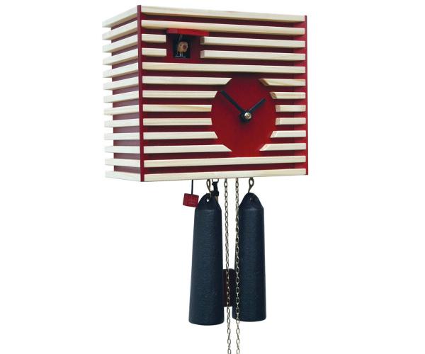 Moderne Kuckucksuhr Romba CS34-3 Bauhaus-Stil rot