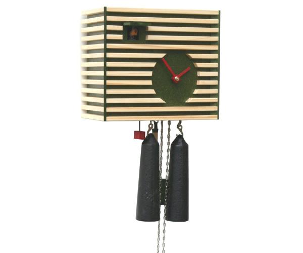 Moderne Kuckucksuhr Romba CS34-4 Bauhaus-Stil grün