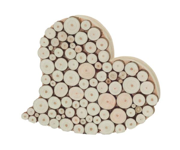 Holzherz mit echten Baumscheiben Haselnuss ca. 15 cm Ø