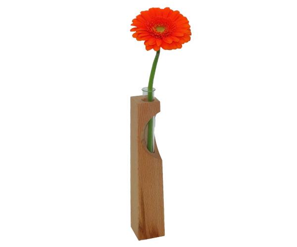 Edle Buchenholz-Vase mit Glasröhrchen ca. 20 x 3,5 cm