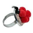 Schwarzwaldmädel Ring silber mit rotem Bollenhut