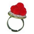 Schwarzwaldmädel Ring bronze mit rotem Bollenhut