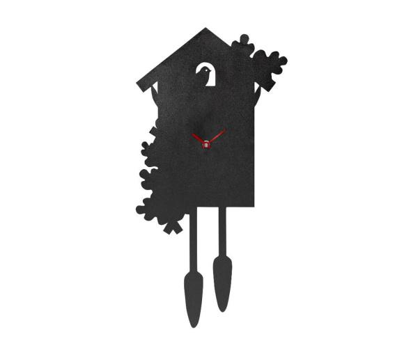 JUBI zeitlose Kuckucksuhr aus Stahl, schwarz geölt