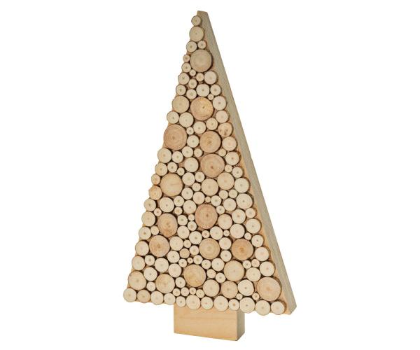 Holz-Tannenbaum mit echten Baumscheiben, ca. 30 cm hoch