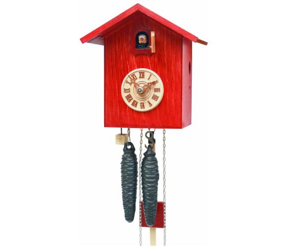 Moderne Kuckucksuhr Vogelhaus rot Romba SK12-3