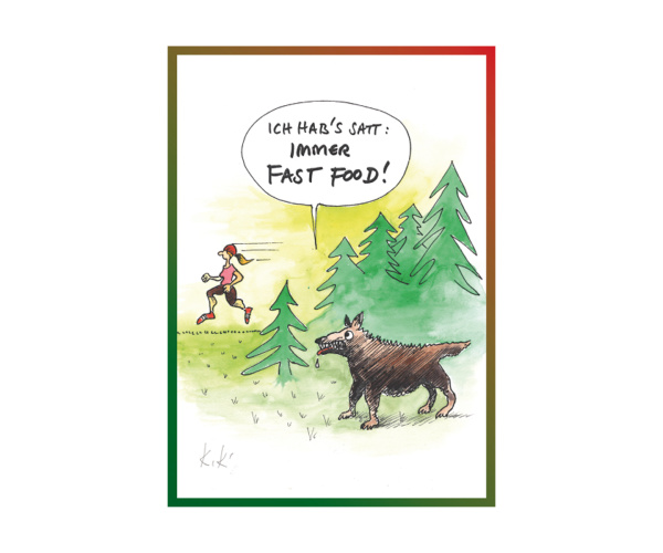"Schwarzwald-Postkarte ""Immer Fast Food"""