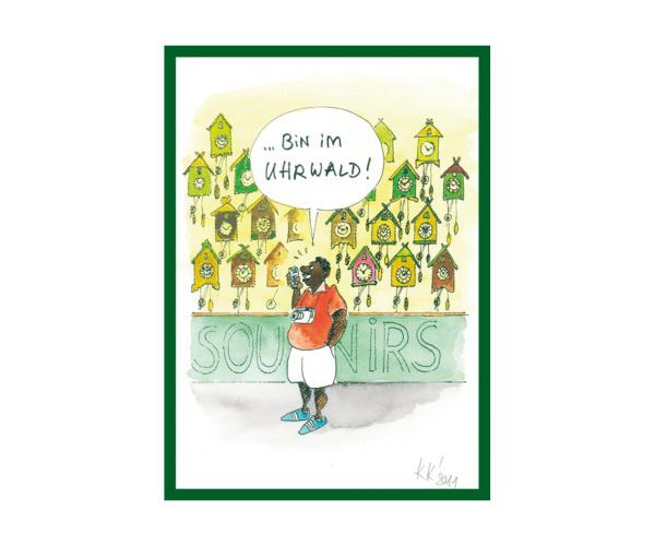 """Schwarzwald-Postkarte """"Ich bin im Uhrwald"""""""