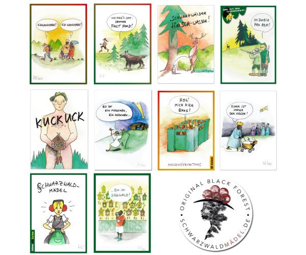 10-er Set Schwarzwald-Postkarten von Klaus Karlitzky