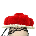 Bollenhut rot, schwarzes Hutband, ca. 8 cm Durchmesser