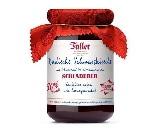 FALLER Schwarzkirsch-Konfitüre extra mit SCHLADERER Kirschwasser 330g