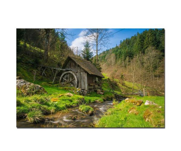 Fotodruck Schwarzwald Alte Mühle am Bach
