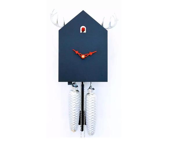 Moderne Kuckucksuhr Kuckuckshaus schwarz mit Geweih silber