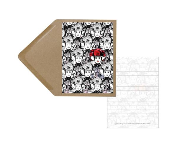 Designerkarte viele Schwarzwald-Maidle incl. Umschlag