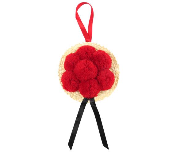 Bollenhut rot, schwarzes Hutband, ca. 13 cm Durchmesser