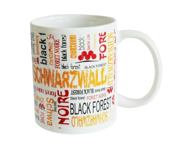 Tasse mit Schwarzwald Aufschrift in 3 Sprachen