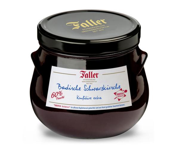 FALLER Schwarzkirsch-Konfitüre extra mit 60% Frucht 930 g