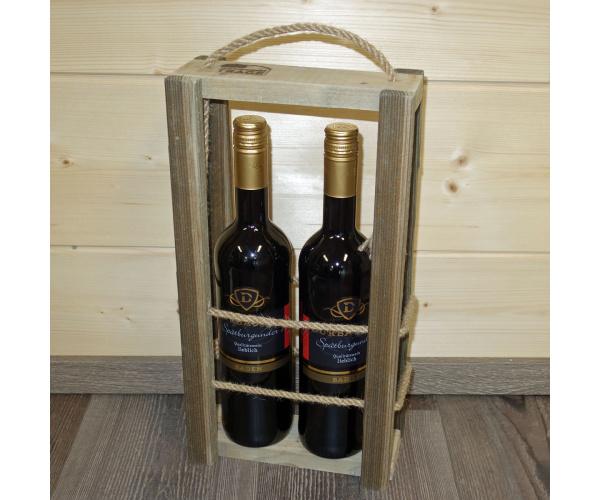 Schwarzwald-Trage Altholz für 2 Flaschen Wein